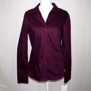 Calvin Klein Purple No Iron French Cuff Top Sz 14